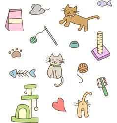 Cat stuff doodle vector image vector image