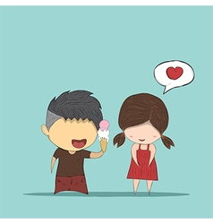 Cute cartoon boy give ice cream girl cute vector image vector image