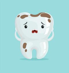 Cute sad cartoon tooth character with coffee vector