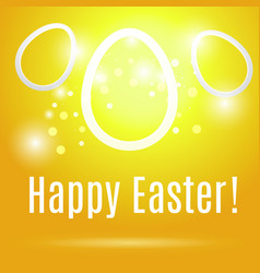 easter eggs on yellow background with glow vector image vector image