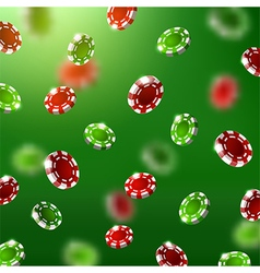 falling green and red poker chips vector image vector image