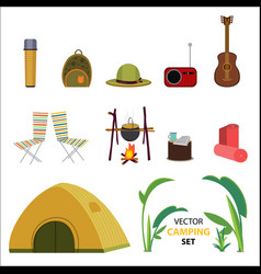 Flat camping icons set vector