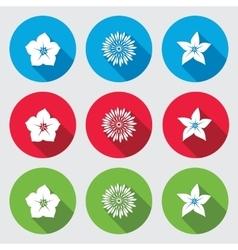 Flower icons set petunia chrysanthemum daisy vector