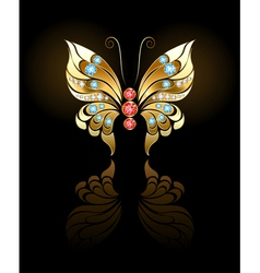 Gold butterfly with gems vector