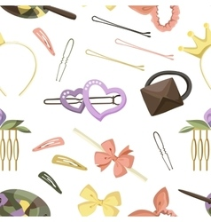 Hair accessories object set pattern vector