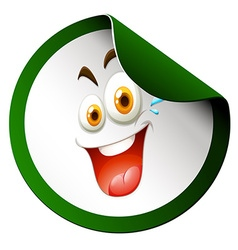 Happy face on sticker vector image vector image
