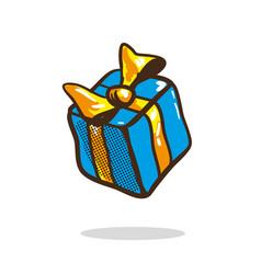 Holiday birthday gift box with bow ribbon and vector