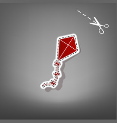 Kite sign red icon with for applique from vector