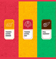 line thanksgiving patterns set vector image