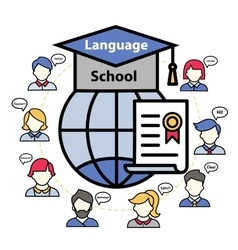 Logo of a language school abroad vector