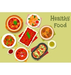 Nourishing meat dinner dishes icon design vector