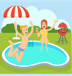 Picnic near swimming pool vector