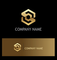 polygon gold letter s company logo vector image