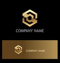 Polygon gold letter s company logo vector