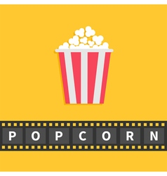 Popcorn Big film strip line with text Red white vector image