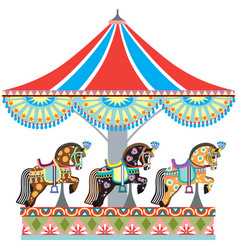 Roundabout horse carousel vector