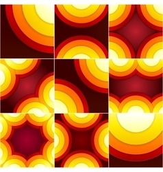 Set of abstract red orange and yellow circle vector image