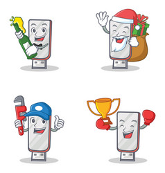 Set of flashdisk character with beer gift plumber vector