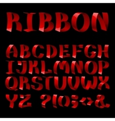Set of isolated red color curled shiny ribbon font vector image