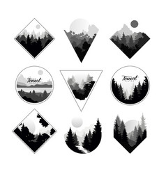 Set of monochrome landscapes in geometric shapes vector