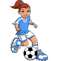 soccer football girl player clipart cartoon vector image