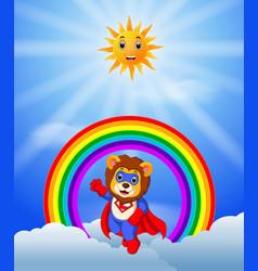 superhero lion on the skies vector image vector image