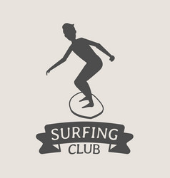 Surfing club logo icon or symbol man surfer vector