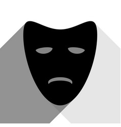 tragedy theatrical masks black icon with vector image