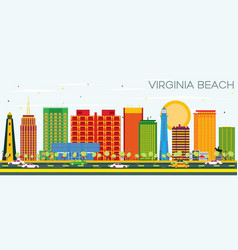 virginia beach skyline with color buildings and vector image vector image