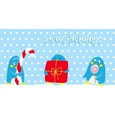 Winter holidays card with cute penguins vector image