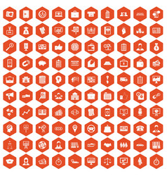 100 business group icons hexagon orange vector