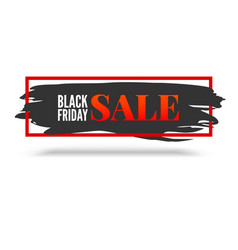 Black friday sale abstract banner with red frame vector