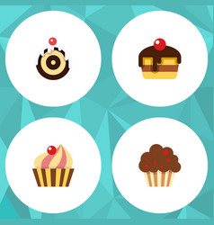 Flat cake set of muffin dessert sweetmeat and vector