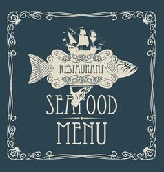 Seafood menu with hand tray fish sailing ship vector