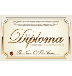 Golden certificate template vector