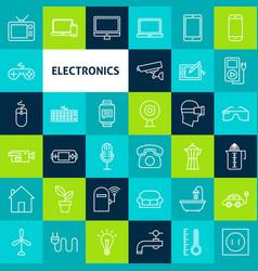 Line electronics icons vector