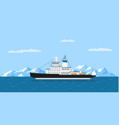 icebergs and ship vector image