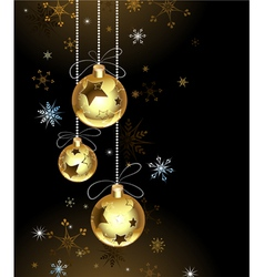 Gold christmas baubles vector