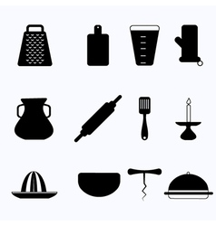 Black icons for kitchenware vector image