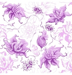 Purple flowers seamless vector