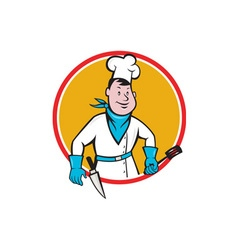 Chef cook holding spatula knife circle cartoon vector