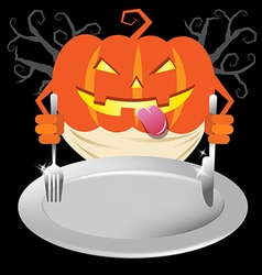 Scary pumpkin holding spoon and knives on dish for vector