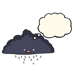 Cartoon rain cloud with thought bubble vector
