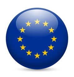 Round glossy icon of european union vector