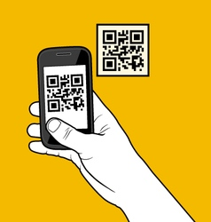 Hand with smartphone taking a QR code vector image