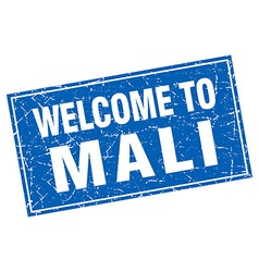 Mali blue square grunge welcome to stamp vector