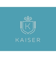 Elegant monogram letter k logotype premium crest vector