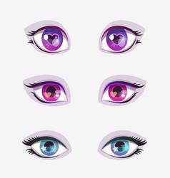 beautiful cartoon colorful eyes set vector image