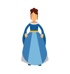 beautiful princess in a blue dress fairytale or vector image