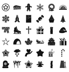 Christmas celebration icons set simple style vector